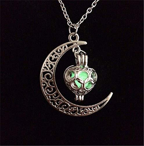 LOSOUL Chic Luminous Moon Love Shape Pendant Necklace Fluorescent Jewelry, Glow in the Dark Necklace,Green (Medium Fluorescent Pendant)