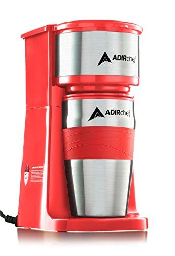AdirChef Grab N Go Personal Coffee Maker with 15 oz. Travel Mug (Red)