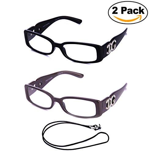 Newbee Fashion - Stylish Womens Fashion Reading Glasses Trendy Small Frame Large IG Logo (2 Pairs with FREE - Frames Reading Glasses Trendy