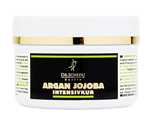Dr. Schedu Berlin Argan Jojoba Intensive Treatment 200ml, for dry & frizzy hair, with Almond oil, Silk proteins, Algae extract, Avocado oil and Shea Butter, silicone free, made in Germany!