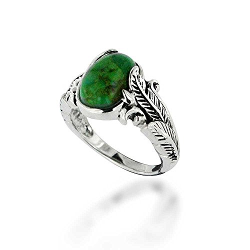 925 Oxidized Sterling Silver Green Turquoise Wrap Leaf Gemstone Ring, Size 6
