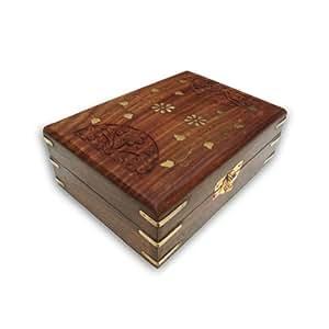 Tallado hecho a mano y Grabado Joyero de madera de la India