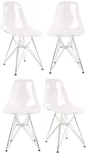 4 X DSW Molded Clear Plastic Dining Shell Chair with Steel Legs Review