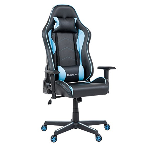 Yizero Ergonomic PC Gaming Chair Office Chair Racing Style Adjustable Height High-Back, High Back Computer Chair with Headrest and Lumbar Support Swivel Executive Office Chair (Blue) Uncategorized