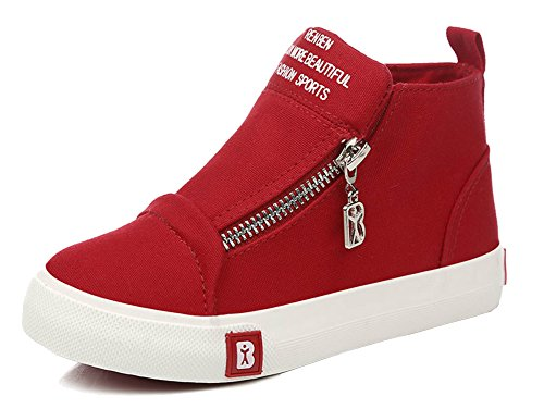 iDuoDuo Kids Fashion Slip On Canvas Shoes Unisex High Top Sneakers Red 3.5 M US Big (Youth High Top)
