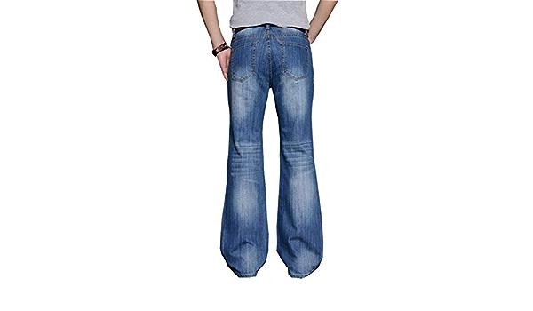 Amazon Com Pantalones Vaqueros Grandes Acampanados Para Hombre Corte De Pierna Acampanada Corte Holgado Cintura Alta Vaqueros Clasicos Pantalones Vaqueros Con Campana Inferior Clothing