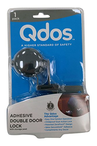 QDOS Adhesive Double Door Cabinet Lock - Slate - Contemporary Design - Keeps Kids Safe from Hazards - Only fits Standard Framed Cabinets - Easy One-Handed Operation - Patented ZeroPinch Design
