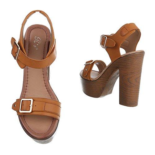 Ital-Design High Heel Sandaletten Damenschuhe Plateau Pump High Heels Schnalle Sandalen/Sandaletten Camel