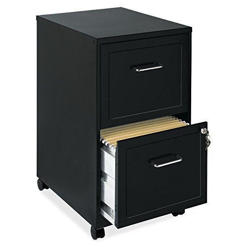 E&B Mobile File Cabinet With Wheels Rolling Storage Home Office Furniture 2 Drawers with Lock and Key Organizer Stainless Steel Black Bundle Includes Scented Wax Melts from Designer Home by E&B