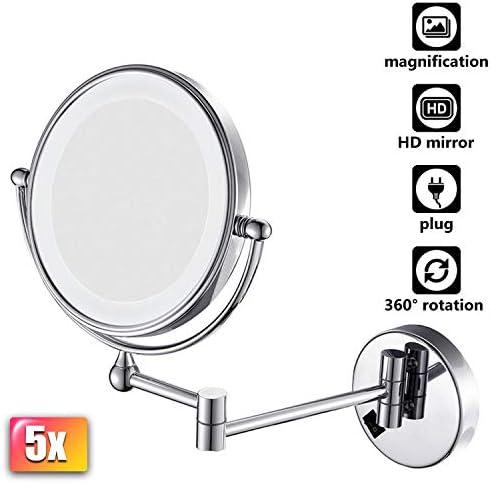 メイクアップミラーウォールマウントライトアップ、化粧鏡の壁は、2つの顔ミラー化粧品フェイス拡張可能バニティミラークローム仕上げの両面浴室のための5倍をマウント