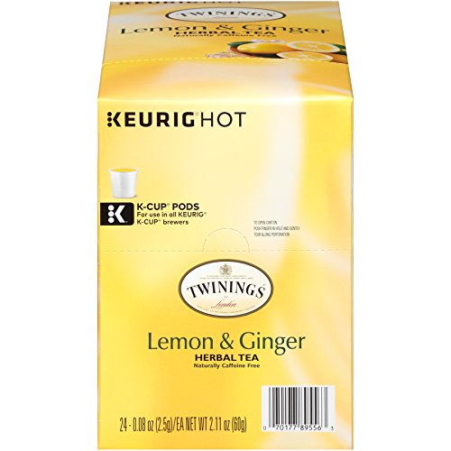 Twinings of London Lemon & Ginger Herbal Tea for Keurig, 24 Count ()