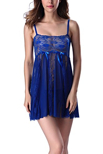 Aidonger Damen klassisch Torte Prinzessen Gaze-Sling transparent Spitze Nachtkleid mit Höschen, Gr. S-2XL, Lila, weitere Farbe
