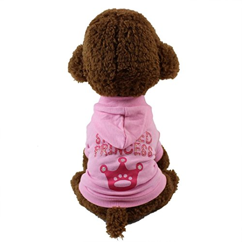 Pet Costume HCFKJ Spoiled Princess Cute Dog T-Shirt Pet Clothes Puppy Hoodie Sweater Dog Coat Warm Sweatshirt (L, Pink)