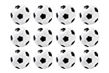 Set of 12 Mini Soccer Table Replacements 36mm Black and White by Juvale