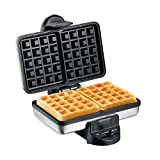 Hamilton Beach 2-Slice Non-Stick Belgian Waffle Maker with Browning Control, Indicator Lights, Compact Design, Premium Stainless Steel (26009)