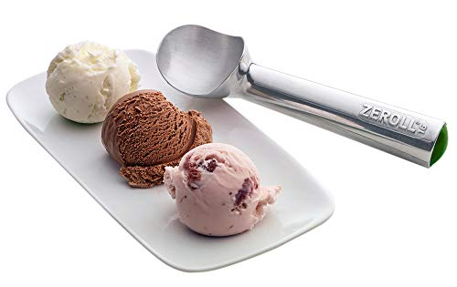 Zeroll 1016 Original Ice Cream Easy Scoop with Unique Liquid Filled Heat Conductive Handle Simple One Piece Aluminum Design Easy Release 32 Scoops per Gallon Made in USA, 2.5-ounce, Silver (Aluminum Ice Cream Scoop)