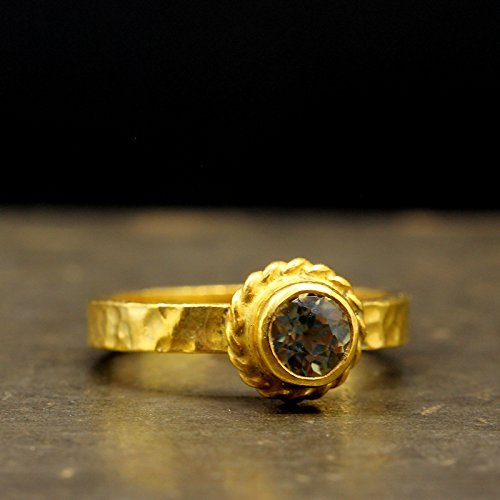 Natural Color Change Diaspore Ring 24K Gold Vermeil over 925 Sterling Silver Handcrafted Ancient Roman Art Hammered Gemstone Band Ring