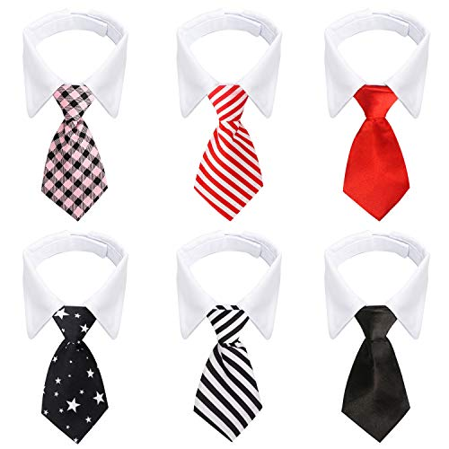 Dog Necktie, 6pcs Segarty Cat Neck Tie with Adjustable Suit White Collar and Black Tie for Dogs, Formal Classy Tuxedo…