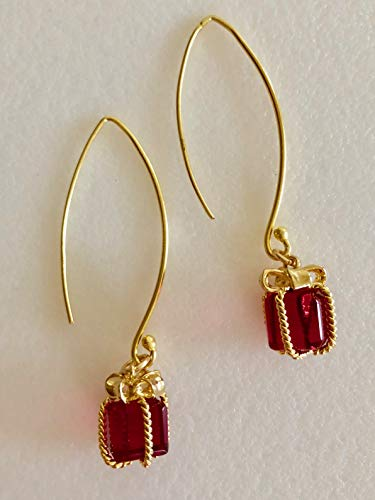 Ruby Red Present Earrings, Red Glass Gift Earrings, Ribbons And Bows, Christmas Earrings, Gift Earrings, 24K Gold Vermeil, Sterling Silver Wires.