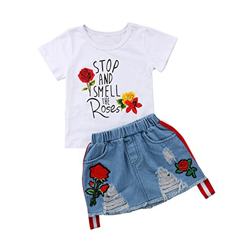 (Kids Girls Letter Print White T-Shirt Top Embroidery Ripped Denim Skirt Outfit Sets (# 1, 1-2 T))