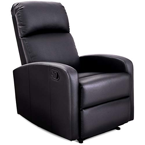 Black Pu Leather Rocker - Giantex Manual Recliner Chair PU Leather Padded Seat Modern Chaise Couch Lounger Sofa for Living Room, with Foldable Footrest Design, Black