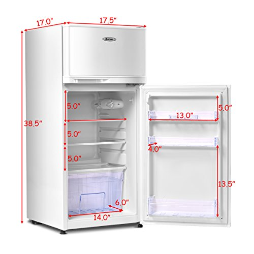 COSTWAY Mini Refrigerator, 2-Door 3.4 cu. ft. Small Compact Under Counter Refrigerator Fridge Freezer Cooler Unit for Dorm, Office, Apartment with Adjustable Removable Glass Shelves (White) by COSTWAY (Image #2)