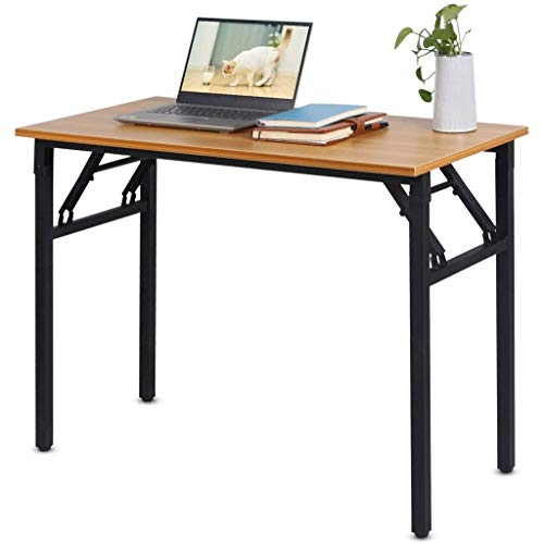 Installation-Free Folding Computer Desk, Small Folding Desk, Wooden PC Laptop Desk, Desk-top Study Desk for Office and Home Use (Color : A, Size : 120x60CM)
