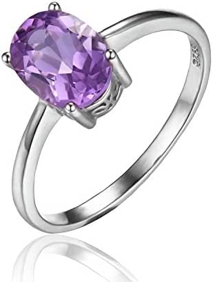 JewelryPalace 1.1ct Oval Natural Purple Amethyst Solitaire Ring 925 Sterling Silver