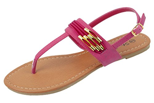 Shoes 18 Womens Roman Gladiator Sandals Flats Thongs 2 Buckle Shoes 4 colors (10, 182230 Fushia) (Shoes Roman Sandals)