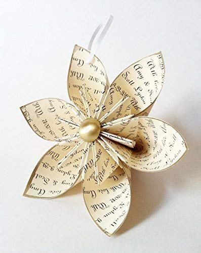 Our Personalized Christmas Ornament- Your Names & Date, custom message, gold, holiday decor, anniversary gift, one of a kind origami
