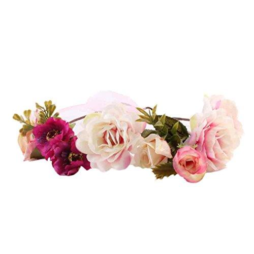 Sunward 2017 New Baby Kids Handmade Flower Hairband Crown Wedding Wreath Bridal Headdress (Red)