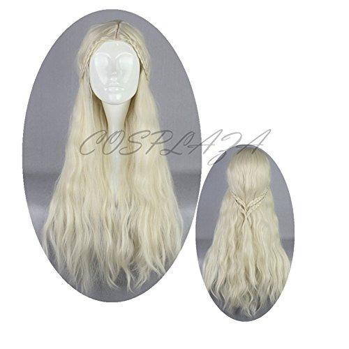 [COSPLAZA Light Beige Long Anime Cosplay Wigs Fashion Girl Wavy Anime Hair] (Daenerys Targaryen Costume Hair)