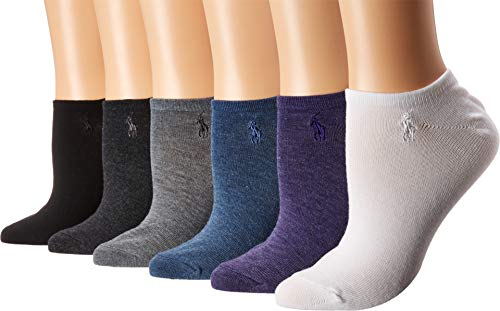 Ralph Lauren Low-Cut Sport Flat Knit Ped Socks 6-Pack, One Size, Purple Assorted