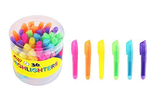 SKKSTATIONERY 36-Pcs Mini Highlighters, Highlighter Markers, Highlighter Pens 3.5'' -