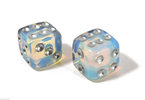 Queenlink Natural Hand Carved Gemstone Various Crystal Healing Lucky Dice 15mm (Opalite) ()