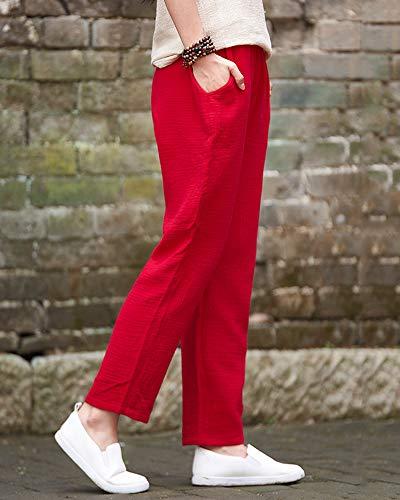 Taglio Da Pantaloni In Con Lino Elastico Dritto Rosso Dal Donna ShiFan Vita In qtYR4Y