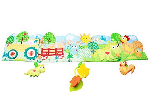 BabyPrice Baby Crib Bumper Gallery Animal Themed Cloth Book Babies Toys with Three Hanging Characters---Bpa-freeTeether, Music Voice and Rattles (Farm) - Farm Animal Crib Sets