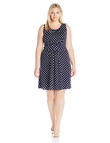 Star Vixen Women's Plus Size Sleeveless Banded Skater Waist Shirred Bodice and Shirred Skirt Short Ity Knit Dress, Navy/White Dot, 3X