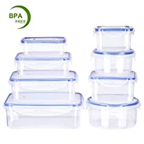 Deik Food Containers, BPA Free Clear Plastic Food Storage Container Set with Lids,Airtight Leak Proof Easy Snap Lock Food Prep Containers, Safe for Dishwasher, Freezer, Microwave, 8 Pack, FDA Approved