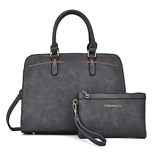 MMK Fashion women's Handbag~ Top Pad Lock Satchel handbag Soft vegan Leather 2 Pieces Tote bag Hobo purse (XL-18-8043-GY) ()