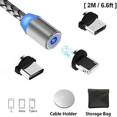 Cable de Carga USB magnético, Cargador de Cable 3 en 1 con LED para Android, múltiples adaptadores de Carga Micro-L-Type C-No Sync Data. Carga rápida ...