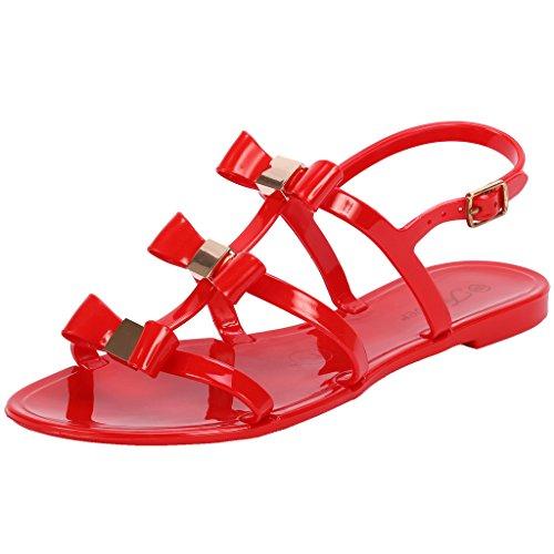 Coshare Women's Fashion Slingback T-Strap Retro Jelly Rain Flat Sandals, Red, 9 M US