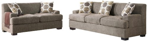 Poundex Montereal 2-Piece Sofa and Loveseat Collection Set with Faux Linen, Slate Color (Loveseat Set Poundex)