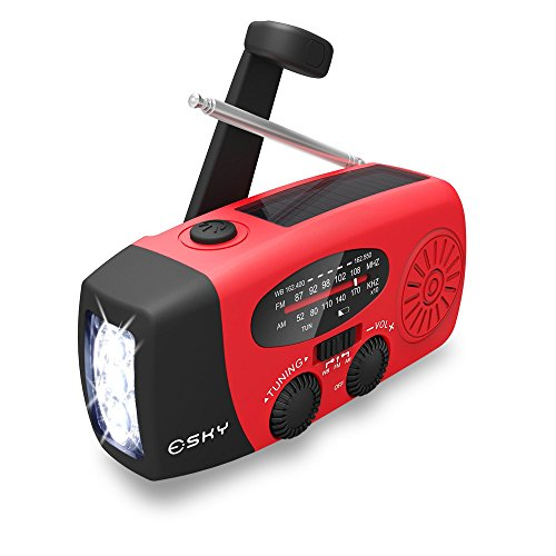 Esky ES-CR06 Solar Hand Crank Self Powered Hand Radio AM/FM/NOAA Digital Radio with 140 lumen LED Flashlight and Power Bank Micro Charger (USB) Power Bank with Cables- for Travel, Camping or Emergency - Color Red
