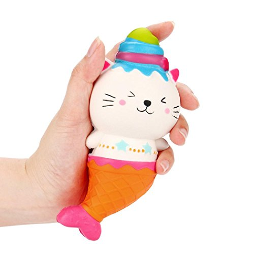 Price comparison product image callm Squishies Toys,  Squishy Toys Jumbo Ice Cream Mermaid Bear Slow Rising Squishies Kawaii Ice Cream Cats Stress Reliever Squishy Toys for Kids and Adults (A)