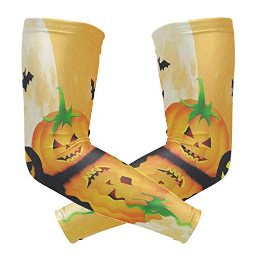 Arm Sleeve Halloween Pumpkin Parttern Sports Compression/UV Protection/Dry-Fast Breathable/Warmth for Men Women Cycling/Golf/Basketball 1 Pair -