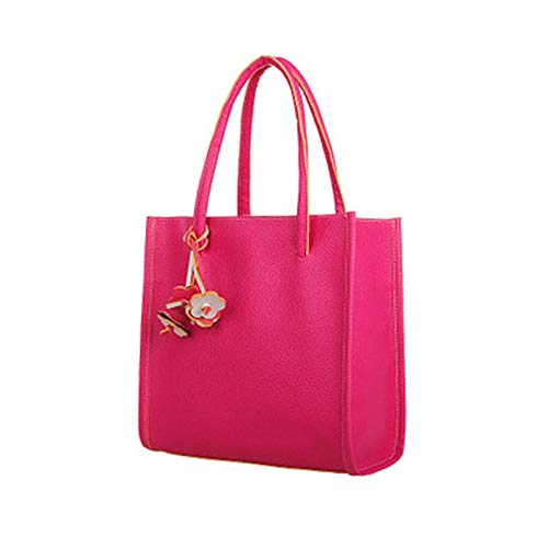 Big Sale! Fashion Elegant Girls Handbags PU Leather Shoulder Bag Clutches Candy Color Flowers Women Totes Purse (Hot Pink) ()