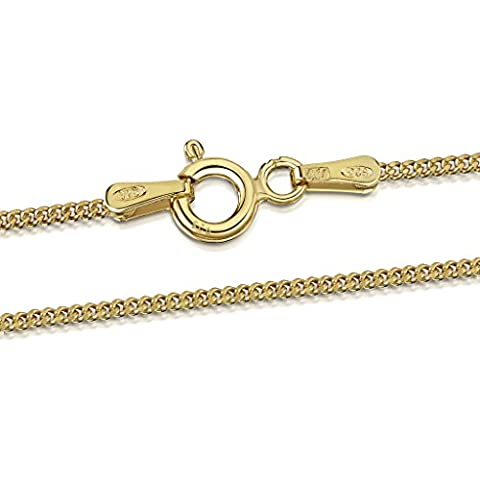 Amberta 18k Gold Plated on Sterling Silver 1.3 mm Curb Chain Size: 16 18 20 22 24 28 inch (20inch)