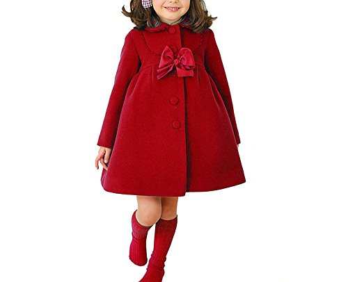 (HBDesign Cute Imitation Wool Bowknot Girl Overcoat Dress Coat Outer Wear Winter Red Size)