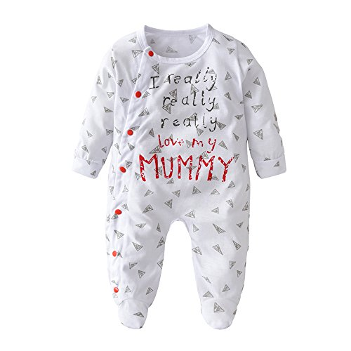 Derouetkia Newborn Baby Boys Girls Letter I Love My Dad and Mom Rompers Outfits Pajamas Bodysuit Clothes